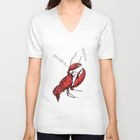 lobster V-neck T-shirts featuring lobster by mark ashkenazi