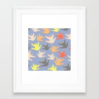 sloths Framed Art Prints featuring Print with sloths by Darish