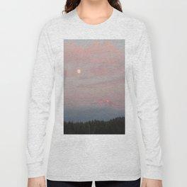Mount Rainier Moon Rise Long Sleeve T-shirt