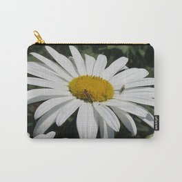 Close Up Common Daisy with Winged Insects Carry-All Pouch