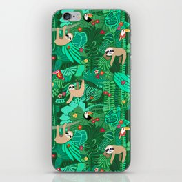 Sloths in the Emerald Jungle Pattern iPhone Skin