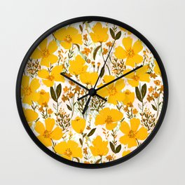 Yellow roaming wildflowers Wall Clock