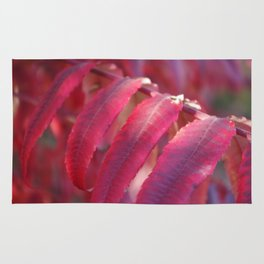 Radiant Red Sumac Leaves Rug
