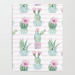 Cute Potted Cacti Stripe Pattern Poster