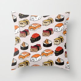 Sushi Persian Cat Throw Pillow