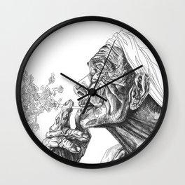 Geometric Graphic Black and White Smoker Drawing Wall Clock