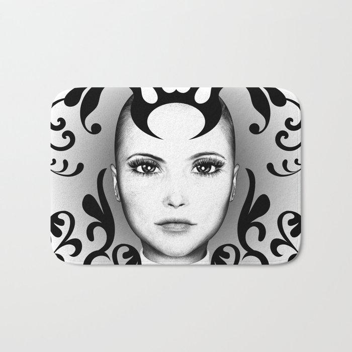 Black and white ornamental face Bath Mat