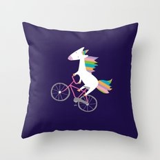 bike unicorn  Throw Pillow