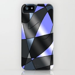 ABSTRACT CURVES #2 (Grays & Light Blue) iPhone Case