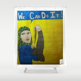 Muslim Rosie the Riveter Shower Curtain