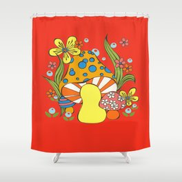 Retro Mushroom Shower Curtain