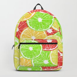 Lemon, orange, grapefruit and lime slices pattern design Backpack