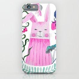 pink rabbit watercolor illustration iPhone Case