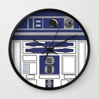 starwars Wall Clocks featuring R2D2 - Starwars by Alex Patterson AKA frigopie76