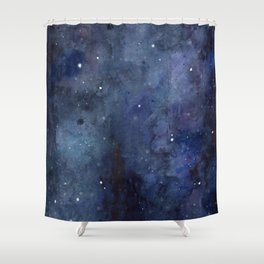 Galaxy Nebula Watercolor Night Sky Stars Outer Space Blue Texture Shower Curtain