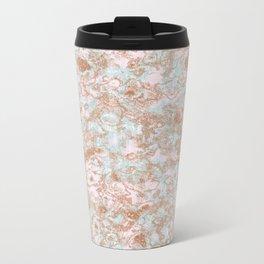 Mint Blush & Rose Gold Metallic Marble Texture Metal Travel Mug