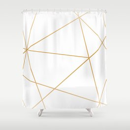 geometric gold and white Shower Curtain