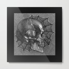 Black Grey and White, American Style Tattoo Skull Spiderweb colored pencil drawing, art illustration Metal Print