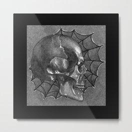 Black Grey and White, American Style Tattoo Skull Metal Print