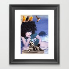 The girl with a bird's nest in her hair Framed Art Print