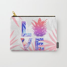 Love Pineapple Typography Tropical Boho Summer Vibes Carry-All Pouch