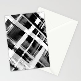 Check Stripe Black and White Stationery Cards