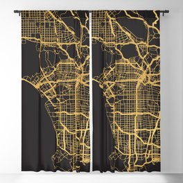 LOS ANGELES CALIFORNIA GOLD ON BLACK CITY MAP Blackout Curtain
