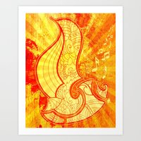 saxophone Art Prints featuring Saxophone by Inailau Hut