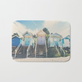 beach huts photograph Bath Mat