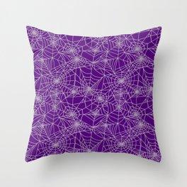 Purple Cobwebs Throw Pillow
