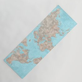 """Blue and brown highly detailed world map, """"Henry"""" Yoga Mat"""