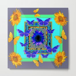 WESTERN BLUE & YELLOW BUTTERFLIES SUNFLOWERS Metal Print
