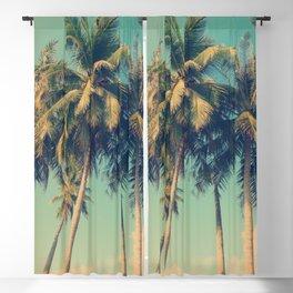 Aloha! Retro palm tree on the beach - summer vibes vintage illustration Blackout Curtain