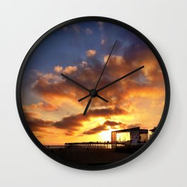 "Hermosa Beach ""Sunset Off The Pier"" Wall Clock"
