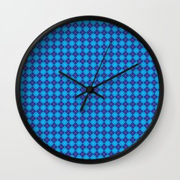 Argyle Pattern | Shades of Blue Wall Clock
