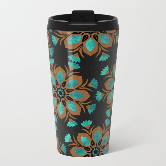 Teal & Brown Decorative Flowers Design Metal Travel Mug