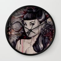 pinup Wall Clocks featuring pinup by Andreea Red