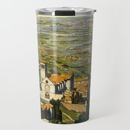 Vintage Travel Poster Assisi Italy in Blue Travel Mug