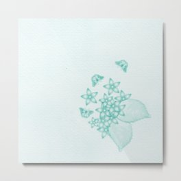 teal flowers and butterflies on subtle textured background Metal Print