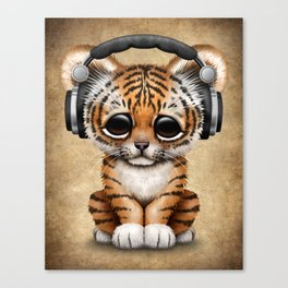 Cute Tiger Cub Dj Wearing Headphones Canvas Print