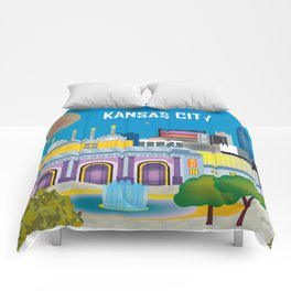 Kansas City, Missouri - Skyline Illustration by Loose Petals Comforters