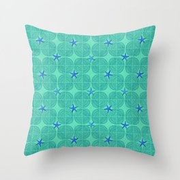 Blue starfish on green sand Throw Pillow