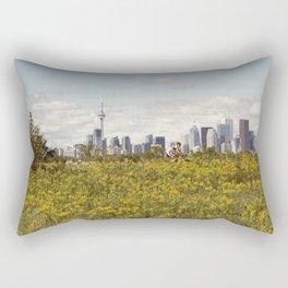 Wild yellow flowers decored Toronto skyline Rectangular Pillow