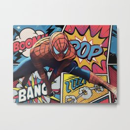 Spider man Comic Portrait Legendary Memories Best Movie Ever Metal Print