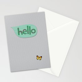 Hello in Green Stationery Cards