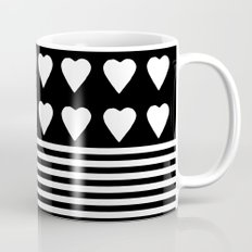Heart Stripes White on Black Coffee Mug