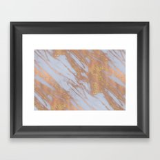 Marble - Pink and Pale Blue Marble with Yellow Gold Glitter Framed Art Print