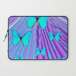 MIGRATING NEON BLUE BUTTERFLIES & PURPLE  ART Laptop Sleeve
