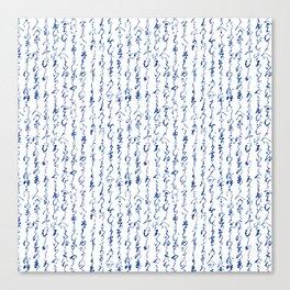 Ancient Japanese Calligraphy // Dark Blue Canvas Print