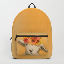 Daisies Sheep Girl Portrait, Mustard Yellow Texturized Background Backpack